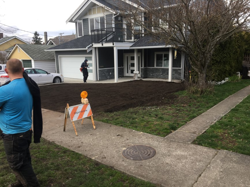 Front yard is prepped and ready for sod installation.